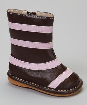 Laniecakes Brown & Pink Stripe Squeaker Boot