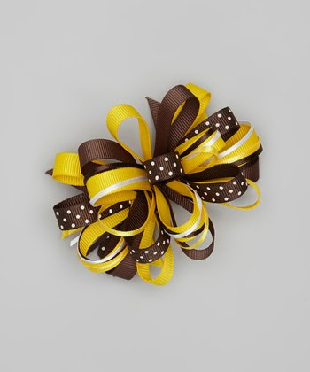 Yellow & Brown Polka Dot Loopy Bow Clip