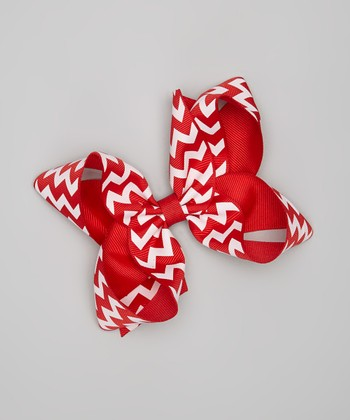 Red & White Zigzag Bow Clip
