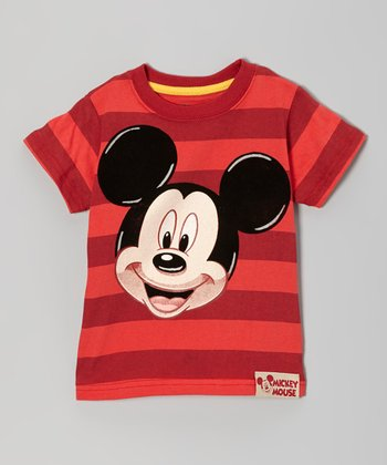 Red Stripe Mickey Tee - Toddler