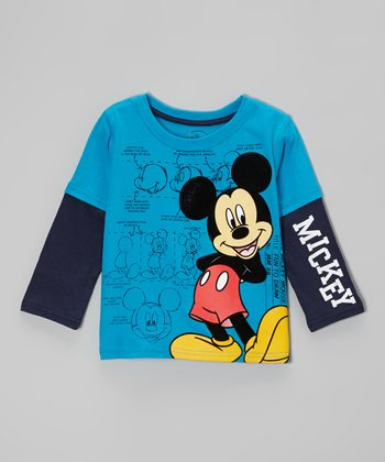 Blue Mickey Layered Tee - Toddler