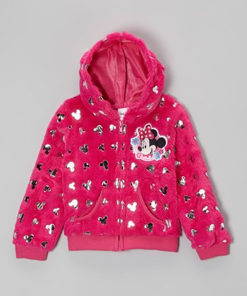Pink Minnie Plush Zip-Up Hoodie - Girls
