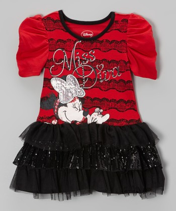 Red & Black Minnie Drop-Waist Dress