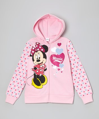 Pink Hearts 'Minnie' Zip-Up Hoodie - Girls