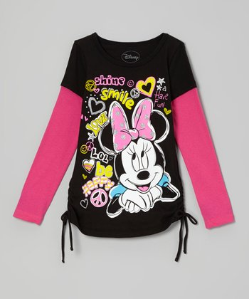 Black Minnie Doodle Layered Tee - Girls