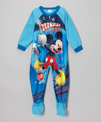 Blue 'Mickey Rocks!' Footie - Toddler