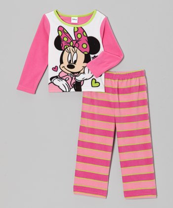 Pink Stripe Minnie Fleece Pajama Set - Toddler