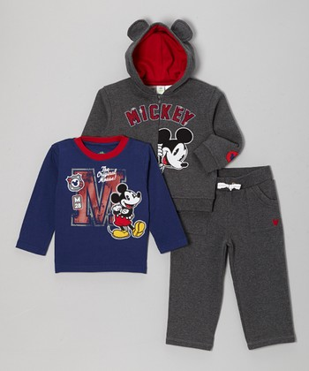 Gray Mickey Peek Hoodie Set - Infant