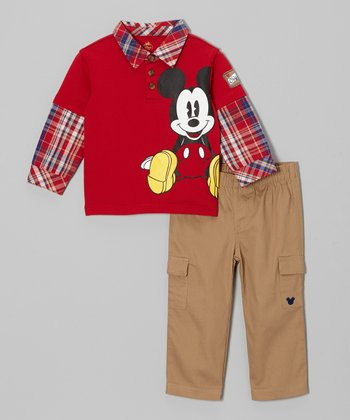 Red Mickey Layered Top & Cargo Pants - Infant
