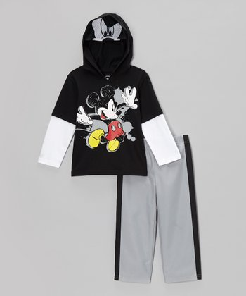 Black Mickey Mask Layered Hoodie & Track Pants - Toddler