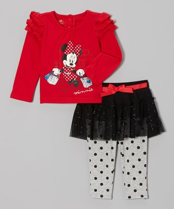 Red Minnie Ruffle Top & Skirted Leggings - Infant