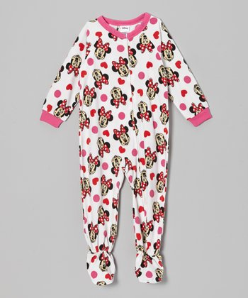 White & Pink Minnie Footie - Infant