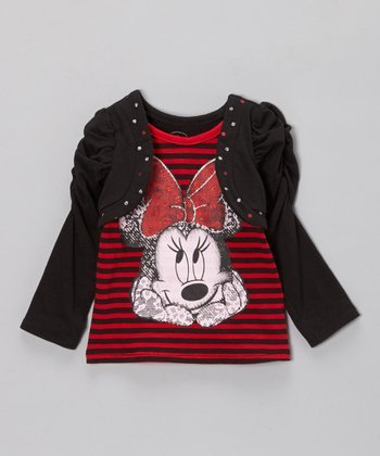 Red Stripe Minnie Faux Shrug Top - Girls