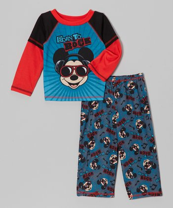 Red & Blue Rock Layered Tee & Pants - Toddler