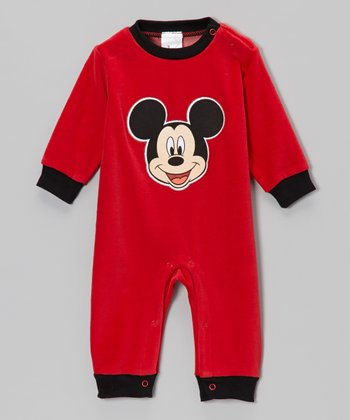 Red Mickey Velour Playsuit - Infant
