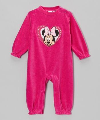 Fuchsia Minnie Velour Playsuit - Infant