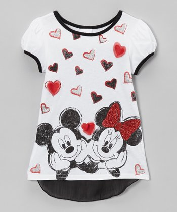White Mickey & Minnie Hearts Hi-Low Tee - Toddler & Girls