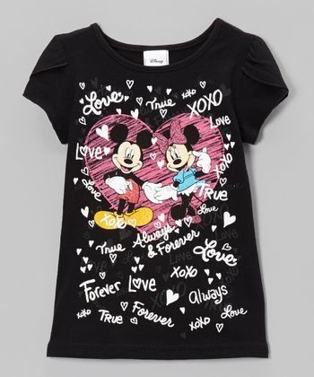 Black Love Petal-Sleeve Tee - Toddler & Girls