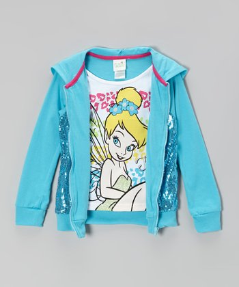 White Tinker Bell Tee & Blue Sequin Hooded Zip-Up - Toddler & Girls