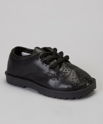 Black Stitched Lace-Up Dress Shoe