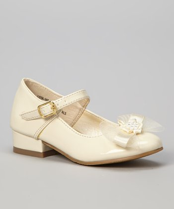 Beige Patent Lota Mary Jane - Girls
