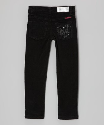 Black Rhinestone Heart Corduroy Pants - Girls