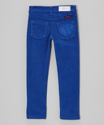 Blue Rhinestone Heart Corduroy Pants - Girls