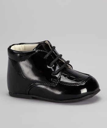 Black Croco Lace-Up Dress Shoe