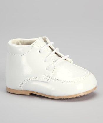 White Croco Lace-Up Dress Shoe