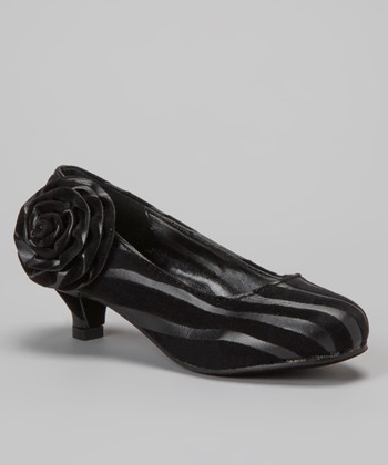 Black Zebra Kitten Heel