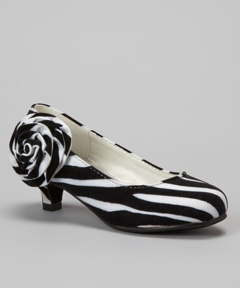 Black & White Zebra Kitten Heel