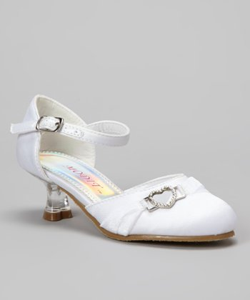 White Ankle Strap Kitten Heel - Girls