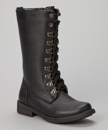 Black Lace-Up Andrea Boot