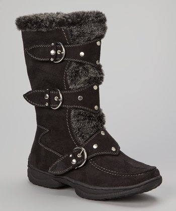 Black Faux Fur Emily Boot