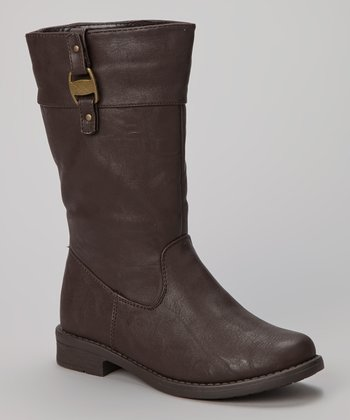 Brown Buckle Moto Boot