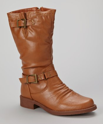 Tan Buckle Moto Boot
