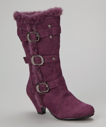 Purple Faux Fur Pauline Boot