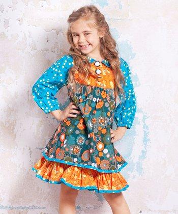 Teal & Orange Jamie Dress - Infant & Toddler