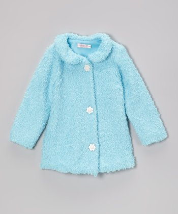 Turquoise Flower Button Coat - Infant & Toddler
