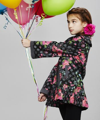Black Floral Ruffle Jacket - Toddler & Girls