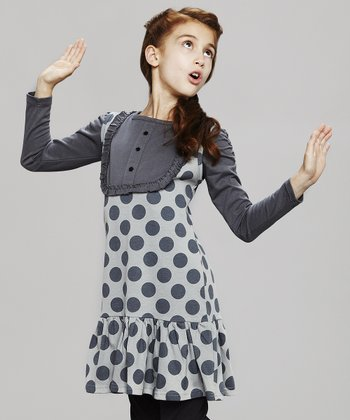 Gray Polka Dot Jumper - Toddler & Girls
