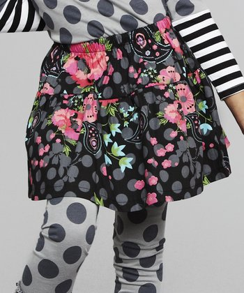Black Floral Skirt - Toddler & Girls