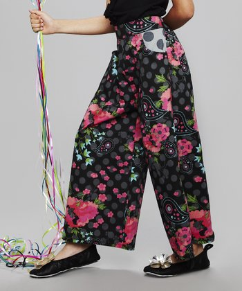 Black Floral Pants - Toddler & Girls