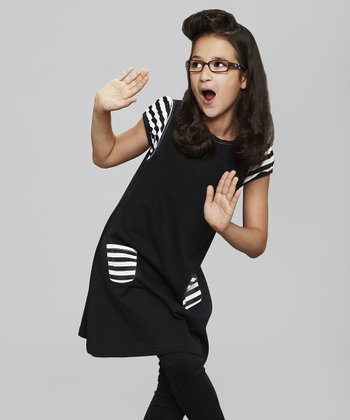 Black Stripe-Pocket Jumper - Toddler & Girls