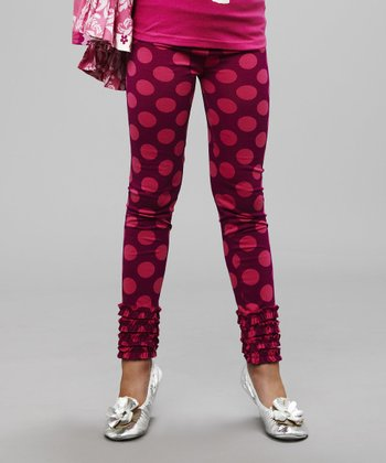 Pink Polka Dot Ruffle Leggings - Girls