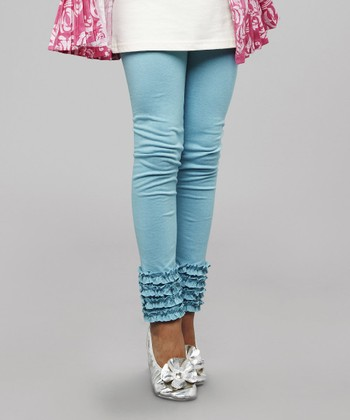 Blue Ruffle Leggings - Girls