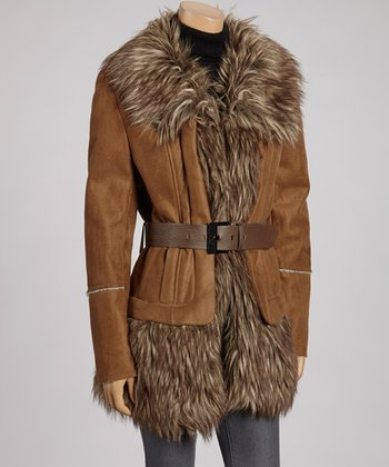 Brown Faux Fur Belted Jacket