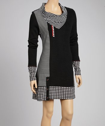 Black Patchwork Cowl Neck Dress