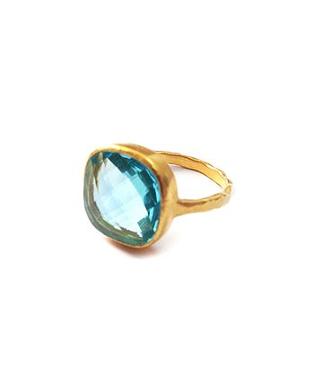 Aquamarine Cushion Cut Cocktail Ring