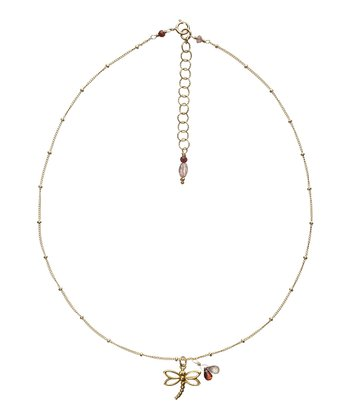 Dragonfly Necklace with Pink Sapphire & Garnet